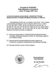 Uchwała Rady Miejskiej w Koszalinie nr VII/30/2007