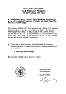 Uchwała Rady Miejskiej w Koszalinie nr VII/31/2007