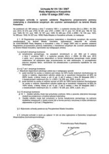 Uchwała Rady Miejskiej w Koszalinie nr VII/36/2007