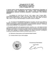 Uchwała Rady Miejskiej w Koszalinie nr VII/37/2007