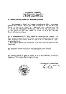 Uchwała Rady Miejskiej w Koszalinie nr VII/44/2007