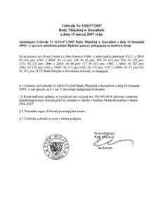 Uchwała Rady Miejskiej w Koszalinie nr VIII/57/2007