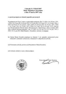 Uchwała Rady Miejskiej w Koszalinie nr VIII/63/2007
