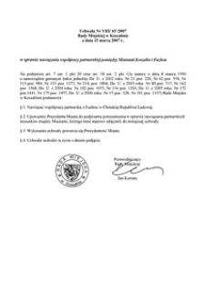 Uchwała Rady Miejskiej w Koszalinie nr VIII/65/2007