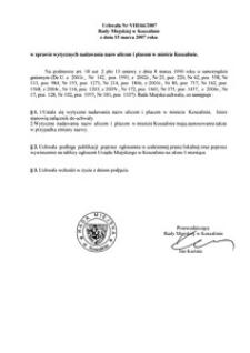 Uchwała Rady Miejskiej w Koszalinie nr VIII/66/2007