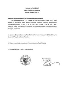 Uchwała Rady Miejskiej w Koszalinie nr VIII/68/2007