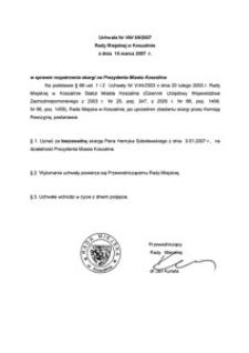 Uchwała Rady Miejskiej w Koszalinie nr VIII/69/2007