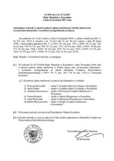 Uchwała Rady Miejskiej w Koszalinie nr X/76/2007