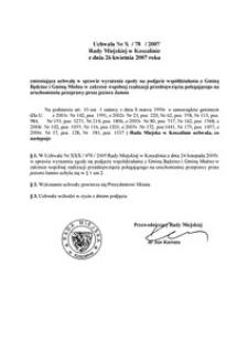 Uchwała Rady Miejskiej w Koszalinie nr X/78/2007