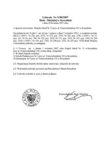 Uchwała Rady Miejskiej w Koszalinie nr X/88/2007