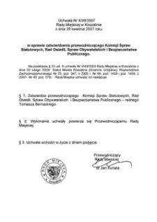 Uchwała Rady Miejskiej w Koszalinie nr X/98/2007