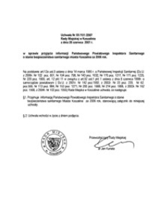 Uchwała Rady Miejskiej w Koszalinie nr XII/101/2007