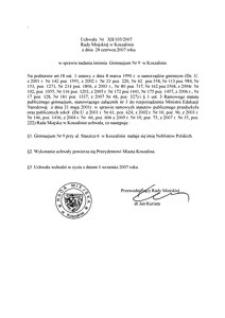 Uchwała Rady Miejskiej w Koszalinie nr XII/103/2007