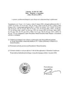 Uchwała Rady Miejskiej w Koszalinie nr XII/107/2007