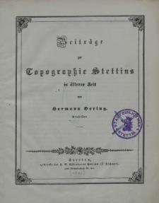 Beiträge zur Topographie Stettins in älterer Zeit