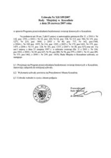 Uchwała Rady Miejskiej w Koszalinie nr XII/109/2007