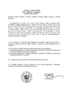 Uchwała Rady Miejskiej w Koszalinie nr XII/110/2007