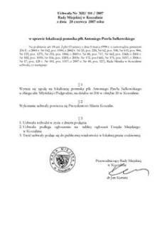 Uchwała Rady Miejskiej w Koszalinie nr XII/114/2007