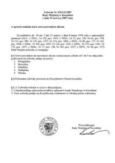 Uchwała Rady Miejskiej w Koszalinie nr XII/122/2007