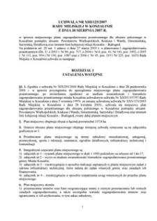 Uchwała Rady Miejskiej w Koszalinie nr XIII/125/2007