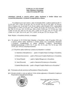 Uchwała Rady Miejskiej w Koszalinie nr XIV/133/2007