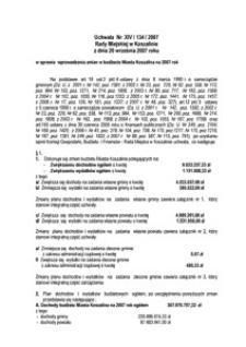 Uchwała Rady Miejskiej w Koszalinie nr XIV/134/2007