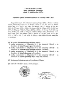 Uchwała Rady Miejskiej w Koszalinie nr XV/143/2007
