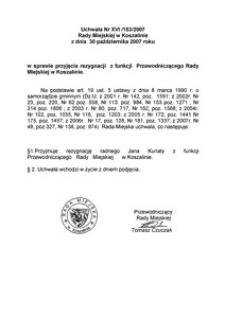 Uchwała Rady Miejskiej w Koszalinie nr XVI/153/2007