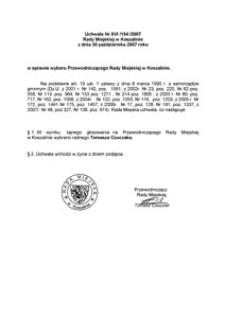 Uchwała Rady Miejskiej w Koszalinie nr XVI/154/2007