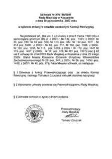 Uchwała Rady Miejskiej w Koszalinie nr XVI/155/2007