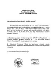 Uchwała Rady Miejskiej w Koszalinie nr XVI/156/2007