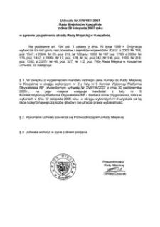 Uchwała Rady Miejskiej w Koszalinie nr XVII/157/2007