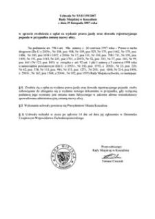Uchwała Rady Miejskiej w Koszalinie nr XVII/159/2007