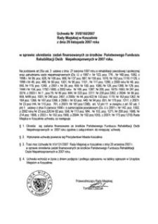 Uchwała Rady Miejskiej w Koszalinie nr XVII/160/2007