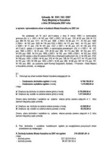 Uchwała Rady Miejskiej w Koszalinie nr XVII/165/2007
