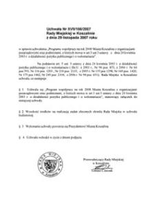 Uchwała Rady Miejskiej w Koszalinie nr XVII/166/2007