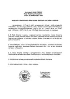 Uchwała Rady Miejskiej w Koszalinie nr XVIII/175/2007