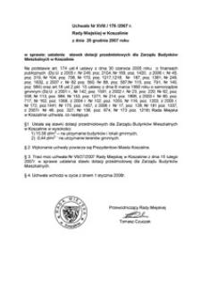 Uchwała Rady Miejskiej w Koszalinie nr XVIII/176/2007