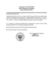 Uchwała Rady Miejskiej w Koszalinie nr XVIII/178/2007