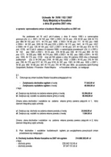 Uchwała Rady Miejskiej w Koszalinie nr XVIII/182/2007