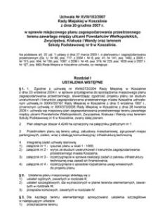 Uchwała Rady Miejskiej w Koszalinie nr XVIII/183/2007