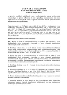 Uchwała Rady Miejskiej w Koszalinie nr XX/189/2008