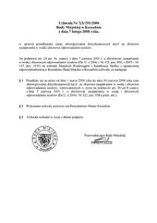Uchwała Rady Miejskiej w Koszalinie nr XX/191/2008