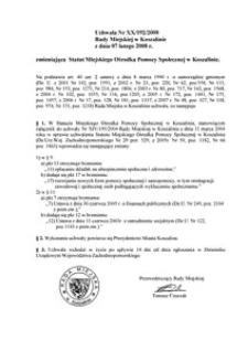 Uchwała Rady Miejskiej w Koszalinie nr XX/192/2008
