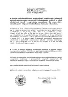 Uchwała Rady Miejskiej w Koszalinie nr XX/193/2008