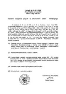 Uchwała Rady Miejskiej w Koszalinie nr XX/201/2008
