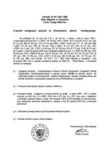 Uchwała Rady Miejskiej w Koszalinie nr XX/202/2008