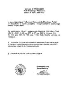 Uchwała Rady Miejskiej w Koszalinie nr XXI/205/2008