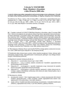 Uchwała Rady Miejskiej w Koszalinie nr XXI/230/2008