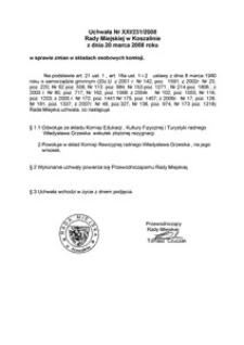 Uchwała Rady Miejskiej w Koszalinie nr XXI/231/2008